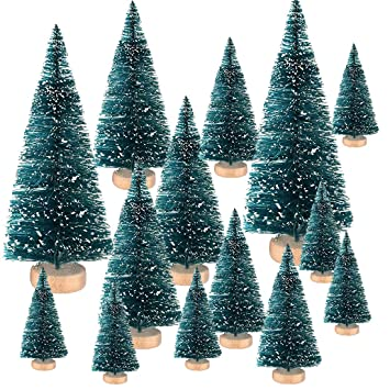 Buytra 37 Pieces Mini Sisal Tree - Artificial Snow Frosted Christmas Tree  Bottle Brush Trees, - Amazon.com: Buytra 37 Pieces Mini Sisal Tree - Artificial Snow