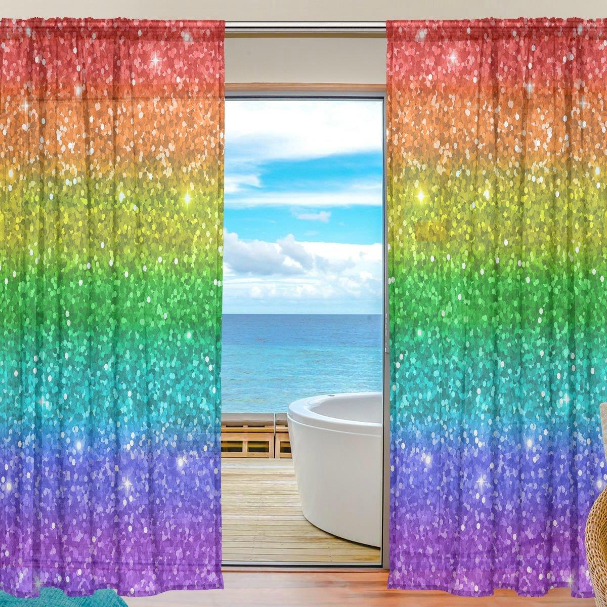 seulifeウィンドウ薄手のカーテン、マルチカラーレインボーグリッタースターボイルカーテンドレープドアキッチンリビングルームベッドルーム55 x 78インチ2パネル 55