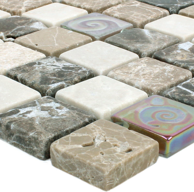 Mosaikfliesen Relief Marmor Java Glas Mix Beige