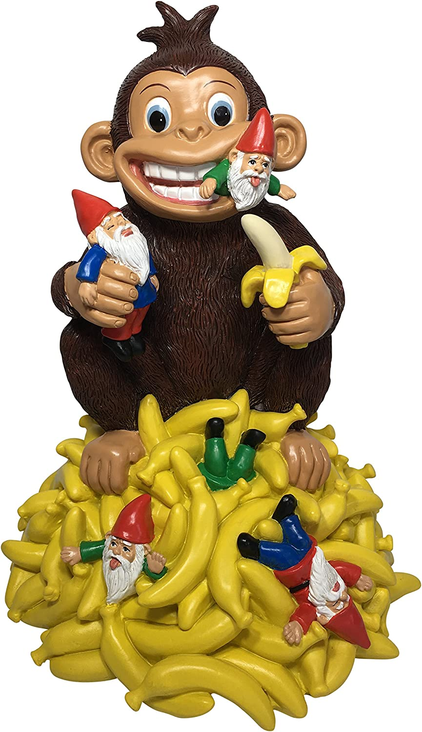 "Gnomes & Bananas: Miniature Monkey with Bananas and Gnomes - 11"" Tall Garden Gnome Figurine for The Miniature Garden by GlitZGlam"