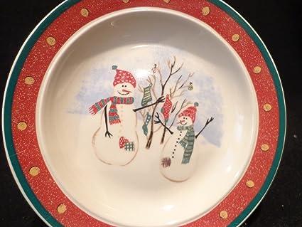ROYAL SEASONS SNOWMAN Stoneware Plate Christmas Dessert Plate Snowman Plate 6.5u0026quot; Christmas Tableware & Amazon.com | ROYAL SEASONS SNOWMAN Stoneware Plate Christmas Dessert ...
