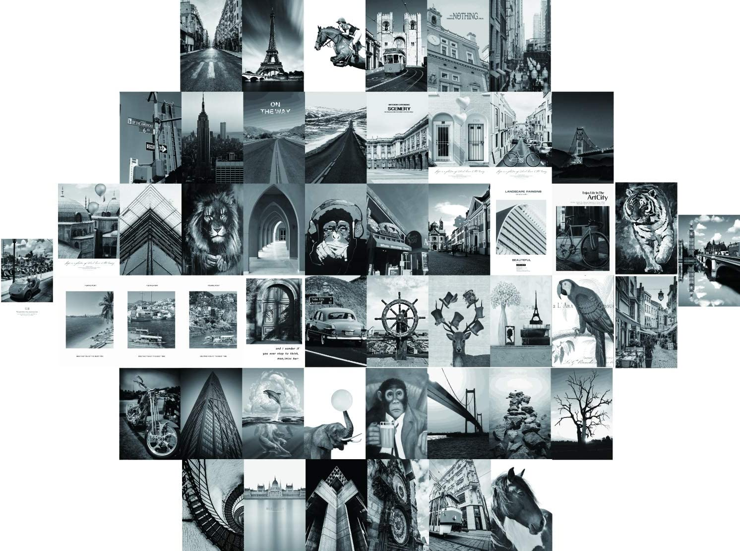 Black White Retro Wall Collage Kit Aesthetic Pictures, Bedroom Decor for Teen, Aesthetic Posters, Set Of 50 Photo Wall Collage Kit For Young Adults' Bedroom Decor, Collage Kit (4x6 inch)