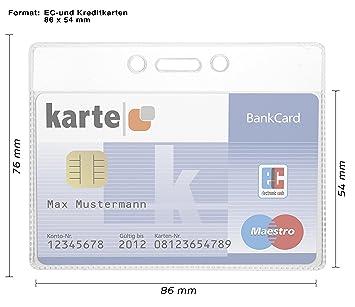 für Karten 54 x 86 mm und Kreditkartenhülle 5 Kartenhalter Ausweishalter EC