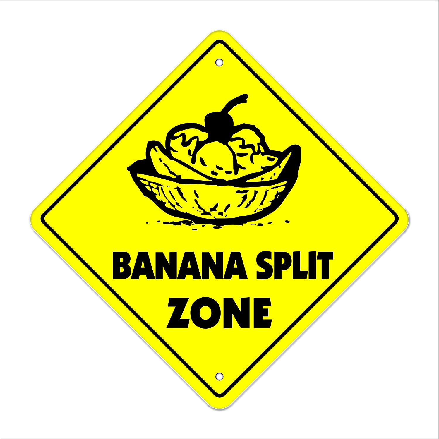 "Banana Split Crossing Sign Zone Xing | Indoor/Outdoor | 12"" Tall ice cream icecream sundae fudge"