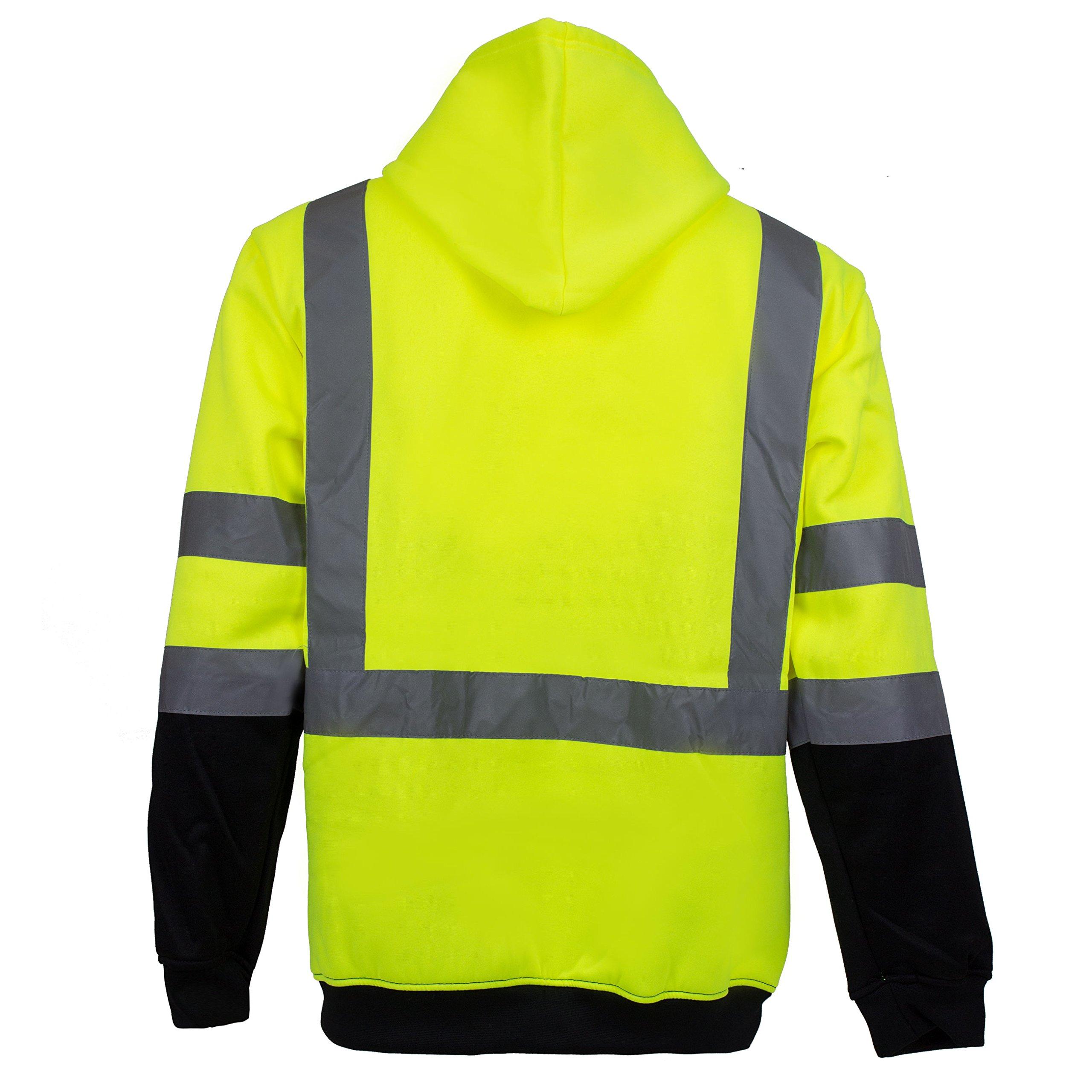 New York Hi-Viz Workwear H9012 Men's ANSI Class 3 High Visibility Class 3 Sweatshirt, Full Zip Hooded, Lightweight, Black Bottom (XX-Large) by New York Hi-Viz Workwear (Image #3)