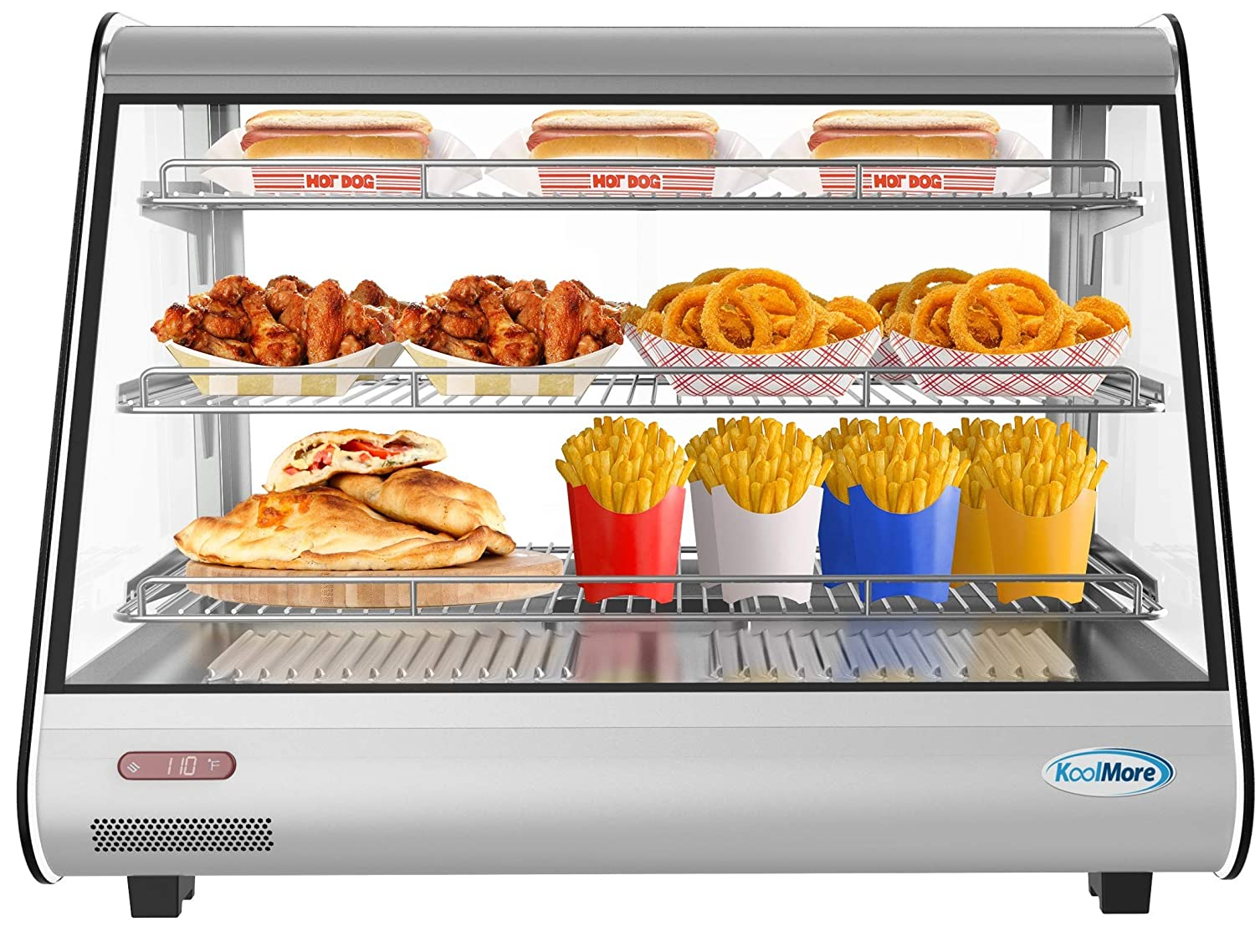 """KoolMore 34"""" Stainless Steel Commercial Countertop Food Warmer Display Case with LED Lighting - 5.6. cu ft."""