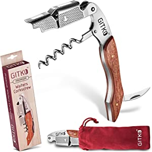 Wine Opener & Waiters Corkscrew-With a Comfortable Rosewood handle – Wine And Beer Bottle Opener For Bartenders, Waiters, –With A Wine Key Foil Cutter - With a Nice Pouch Included