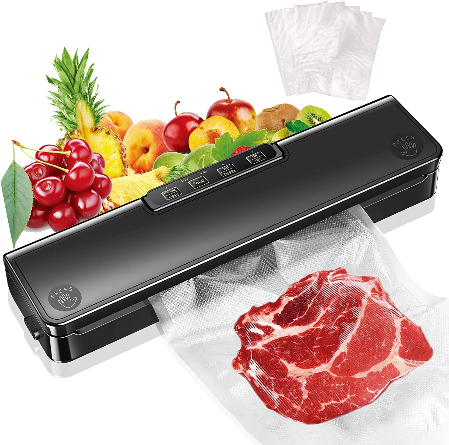 Vacuum Sealer Machine, Automatic Food Sealer for Food Saver Vacuum Sealer| Starter Kit|Dry & Moist Food Modes| Compact | Easy to Clean | Led Indicator Lights(15 Vacuum Sealing Bags)
