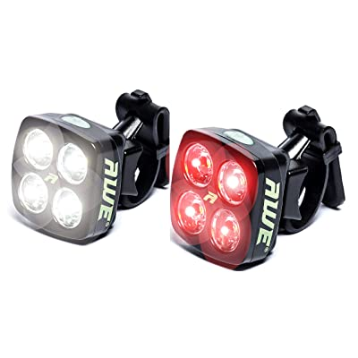 AWE® AWEBlitz™ 8 LED's USB Rechargeable vélos avant et arrière Lumière Set 120 Lumens