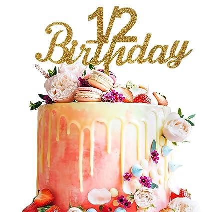 Amazon.com: 1/2 Birthday Gold Glitter Acrylic Cake Topper For ...