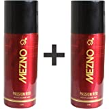 Mezno Passion Red Sizzling And Long Lasting Fragrance Deodorant Body Spray For Men - 24 Hrs Fresh Power Deo - 150ml (Pack of 2 )