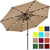 Best Choice Products 10FT Deluxe Solar LED Lighted Patio Umbrella w/Tilt Adjustment (Tan)