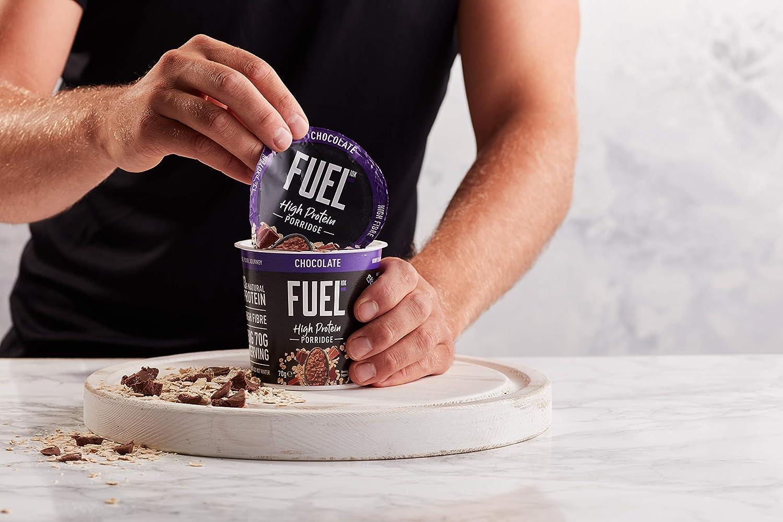 Gachas de avena FUEL10K con chocolate, 8 x 70 g: desayuno instantáneo con alto contenido proteico
