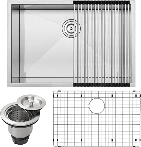 28 Ticor S3680 Pacific Series 16-Gauge Undermount Stainless Steel Single Bowl Zero Radius Square Kitchen Sink with Accessories