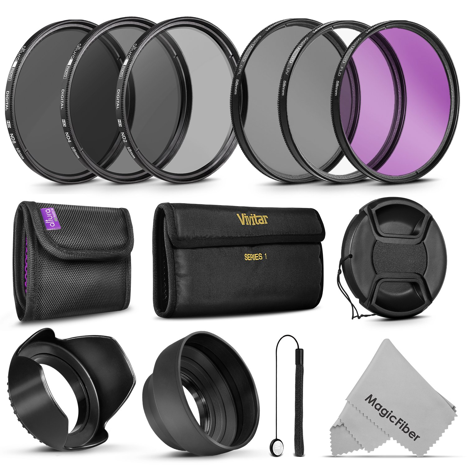 58MM Vivitar UV CPL FLD Filters, Altura Photo ND Filter Set, Collapsible Rubber Lens Hood, Tulip Lens Hood Bundle for Lenses with a 58mm Filter Size by Goja