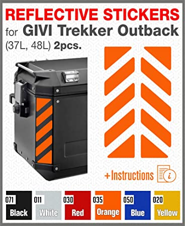 Arancione 2 pcs RIFRANGENTI ADESIVI per VALIGIE LATERALI GIVI Trekker Outback 37L 48L