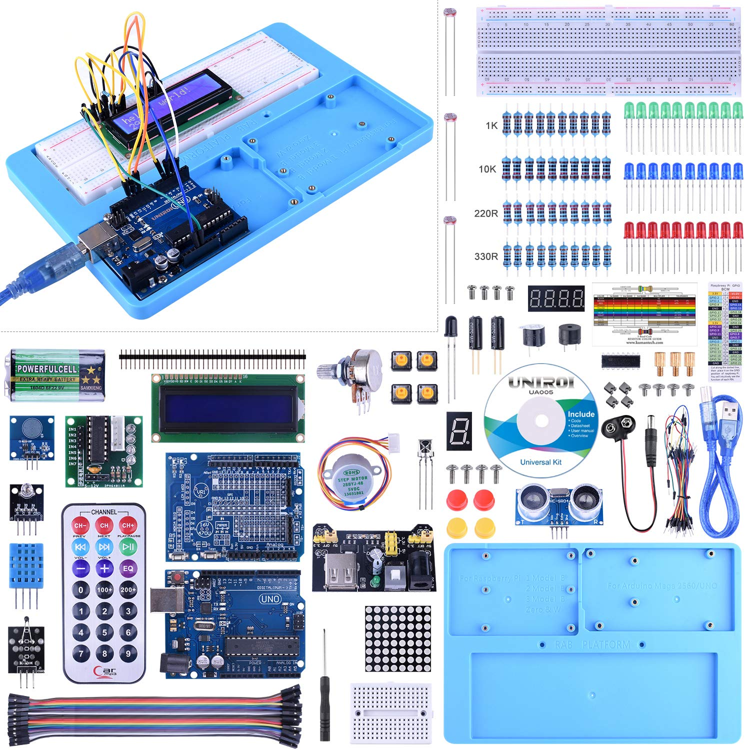 UNIROI UNO Starter Kit for Arduino, Complete Arduino Kit for Beginner with Detailed Tutorials, RAB Holder, Breadboard for Arduino UNO R3 Arduino Mega 2560 Arduino Nano Robot (52 Items) UA005