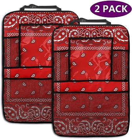 Zara-Decor Bandana Rojo para Asiento Trasero de Coche, organizadores de Asiento Trasero para Botellas, Libros, teléfonos y Tableta iPad para niños y niños (2 Unidades): Amazon.es: Coche y moto