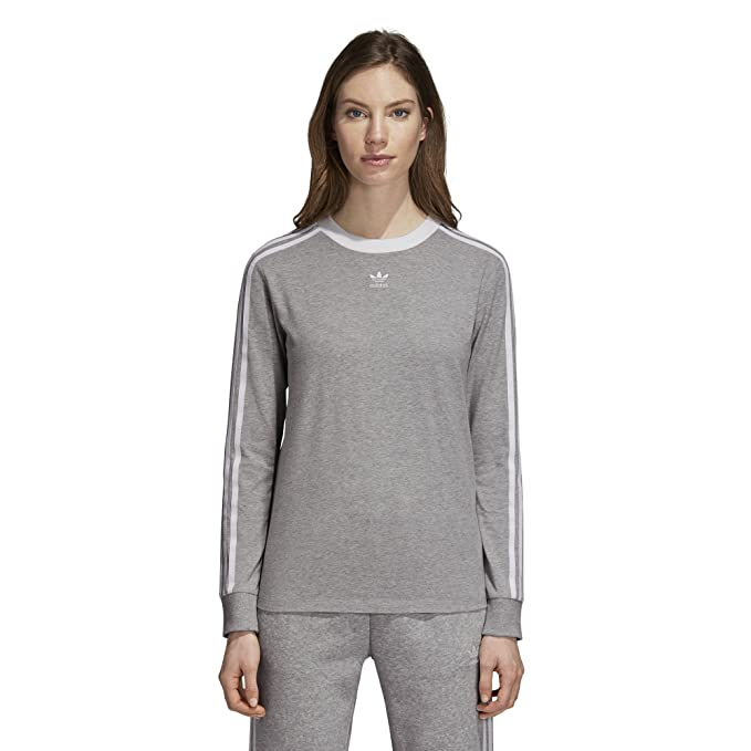 09cfbbc9fed adidas Originals Women's 3-Stripes Long Sleeve Tee, Medium Grey Heather, ...