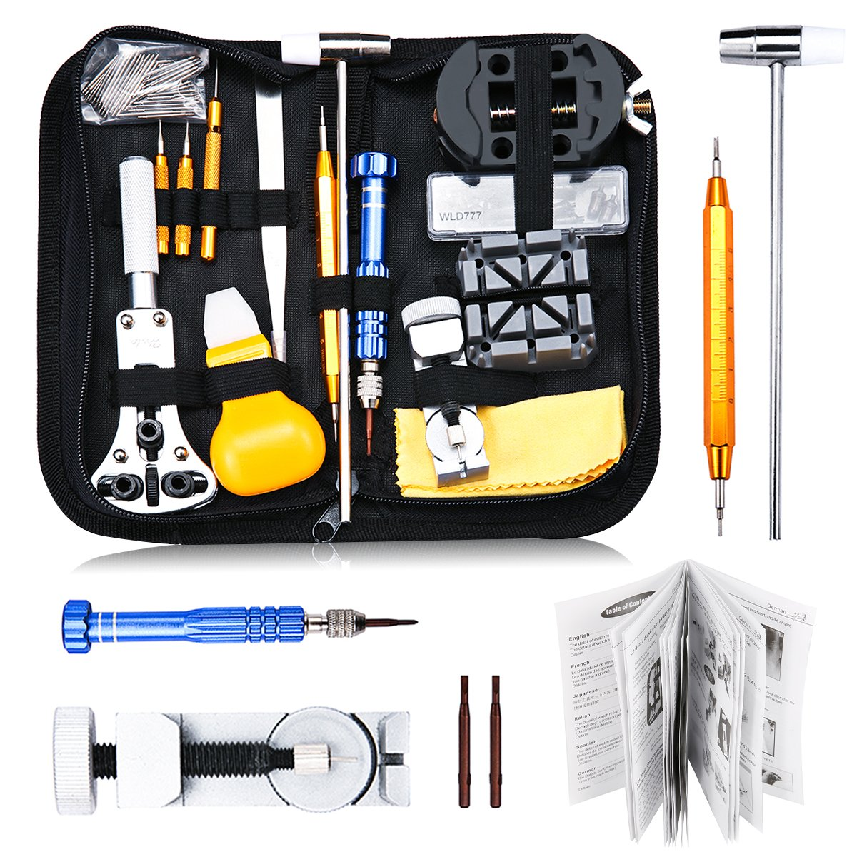 Watch Repair Kit, Baban 147 Pcs Watch Tool Kit Professional Spring Bar Tool Set Watch Band Link Pin Tools Set Upgraded Watch Band Remover, Watchmaker's Maintenance Service Manual with Carrying Case