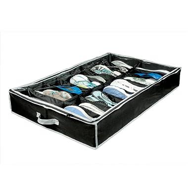 Richards Homewares Lack/Grey Gearbox 16 Cell Shoe Organizer, 37.5 x23.5 x5.5 , Black