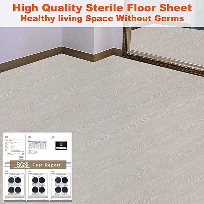Home Decoration Premium sterile Vinyl Flooring Sheet Wallpaper Sticker Multi-Usage Self-Adhesive Contact Paper Film Peel and Stick Multi-Usage Removable Waterproof Ash Gray Wood 24inch X 118inch
