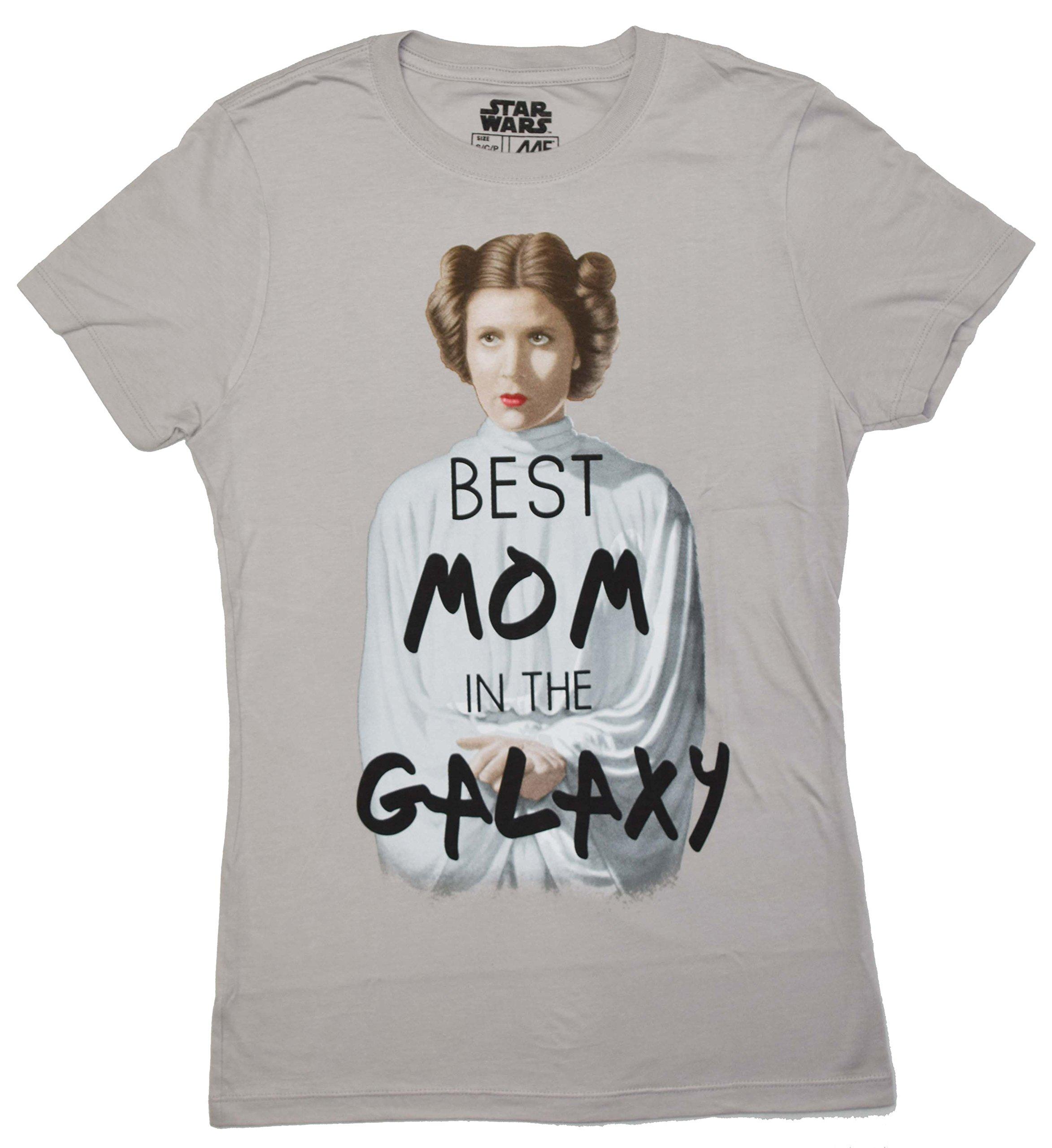 Star Wars Princess Leia Best Mom in The Galaxy Juniors T-Shirt (XXL, Silver)