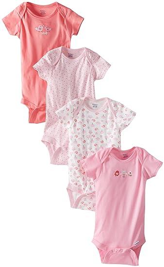 95e908d9c2 Amazon.com  Gerber Baby Girls  4 Pack Onesies  Clothing