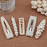 Warmfits Pearl Hair Clips Wedding Pearl Hair Accessories Gift for Women Girls - 4pcs Large Big Hari Styling Pearl Hair Pins Bridal Hair Barrettes for Wedding, Party and Daily Wearing