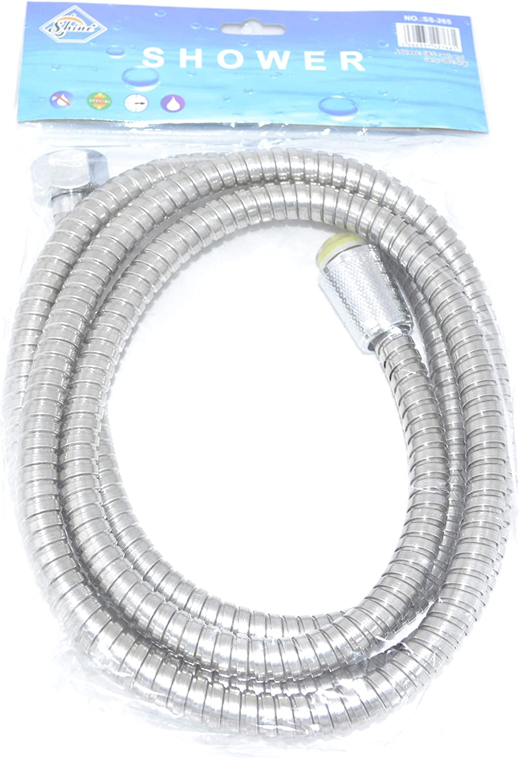 SHINE- FLEXIBLE SHOWER PIPE CHROME LOOK Bath Hose Flexible Replacement Pipe choose size 1.5m/2m/2.5m (1.5m Metre (150 CM))