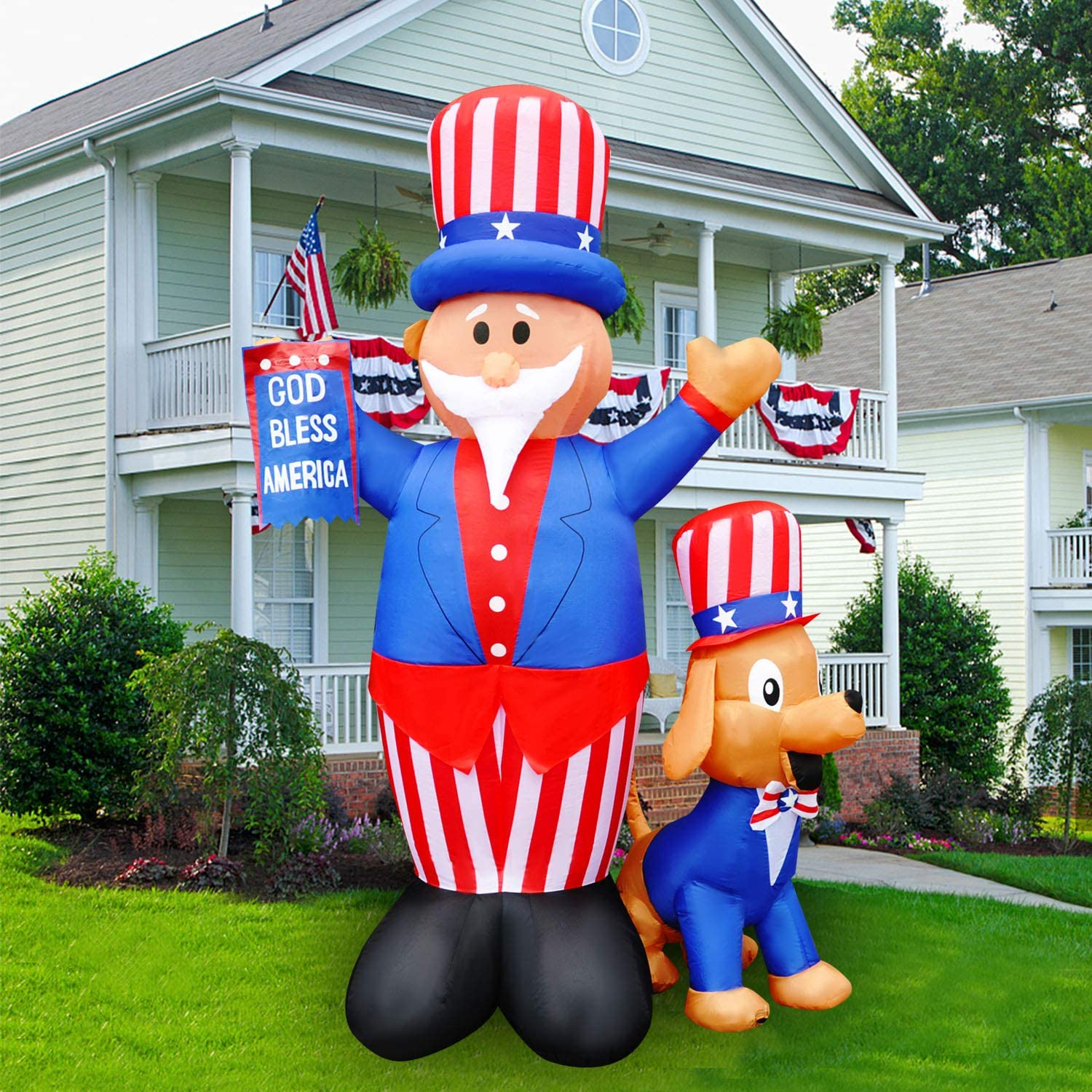 SEASONBLOW 7 Ft Patriotic Independence Day 4th of July Inflatable Uncle Sam with Dog & American Flag Decor Home Yard Outdoor Indoor Decoration