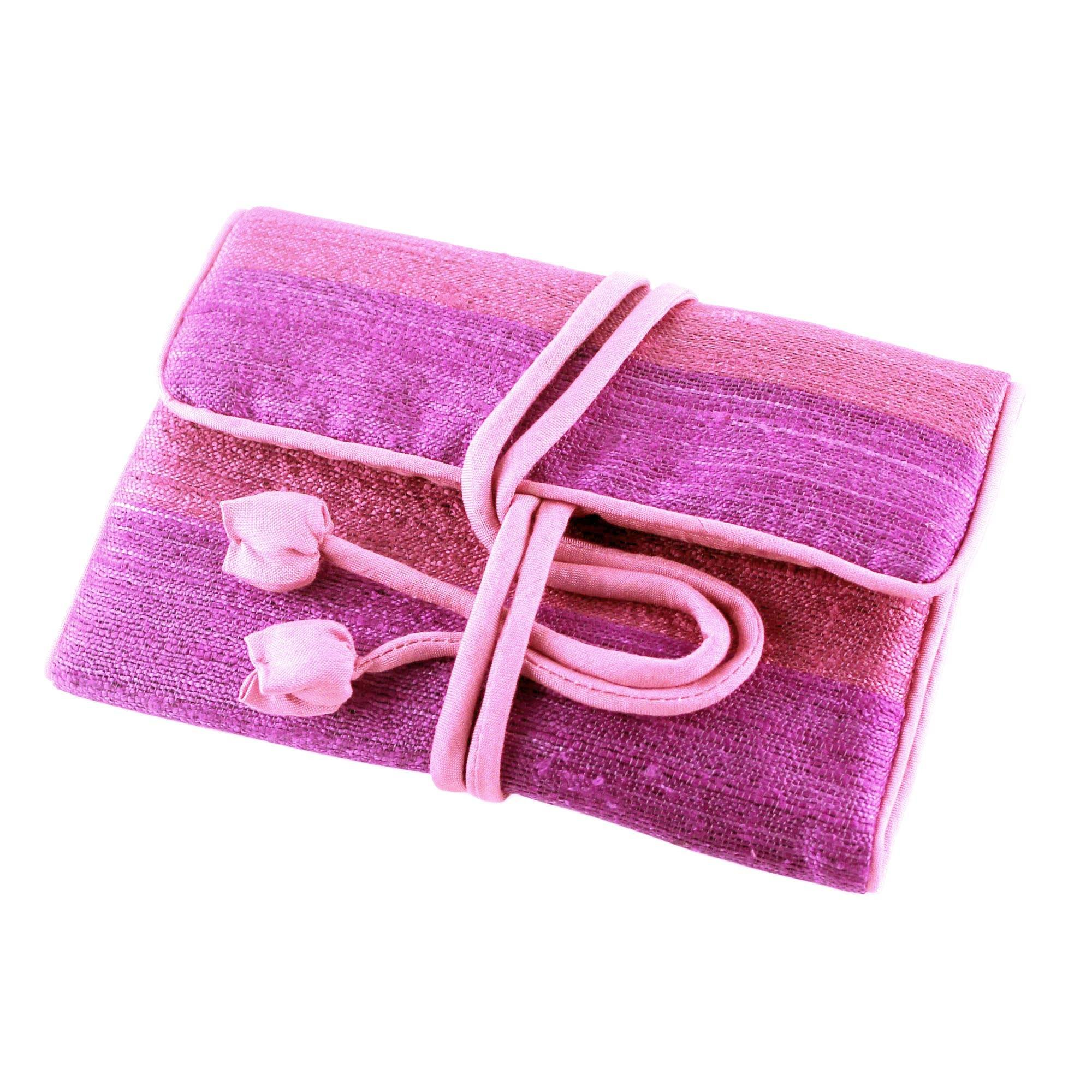 NOVICA Silk Jewelry Roll, Pink and Purple, Happy Travels In Purple'