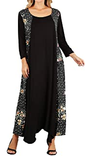 product image for Funfash Plus Size Women Black White Peach Long Sleeves Maxi Dress Made in USA