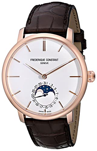 Frederique Constant Men s FC705X4S4 Slim Line Rose Gold-Plated Automatic Watch with Brown Leather Band