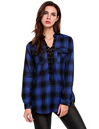 fbff6bcb9 Meaneor Womens V Neck Sexy Summer Plaid Roll Up Long Sleeve Shirt for  Ladies (Blue