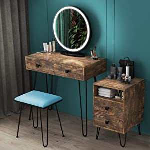 LVSOMT Makeup Vanity Desk Set with Round Mirror and Dimmable LED Lights, Dressing Table w/Storage Cabinet, Drawers, Cushioned Stool, 3 Color Lighting Modes & Touch Screen, Bedroom Furniture