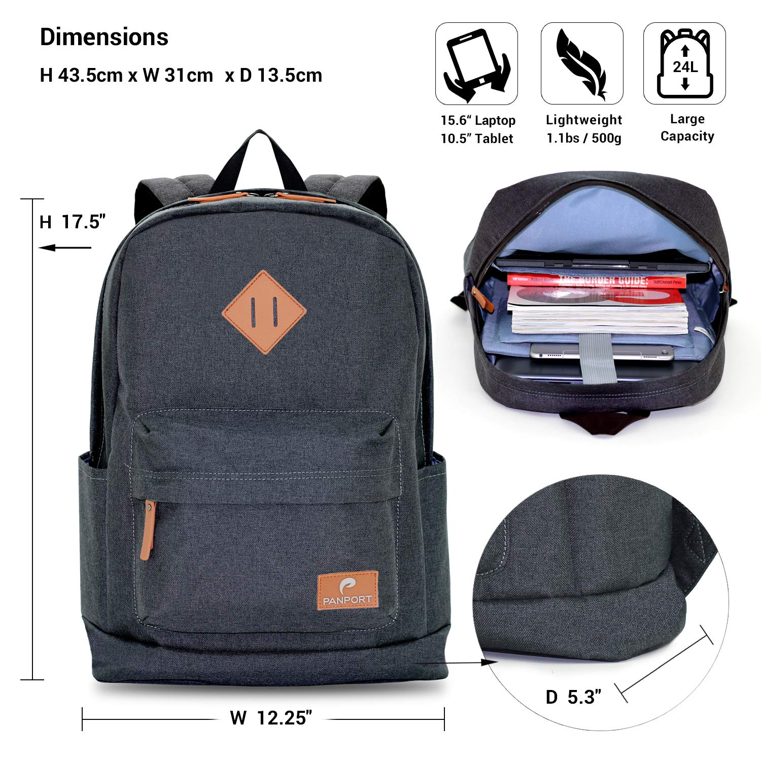 Panport Classic Laptop Computer Backpack Shockproof Lightweight Bookbag Charcoal