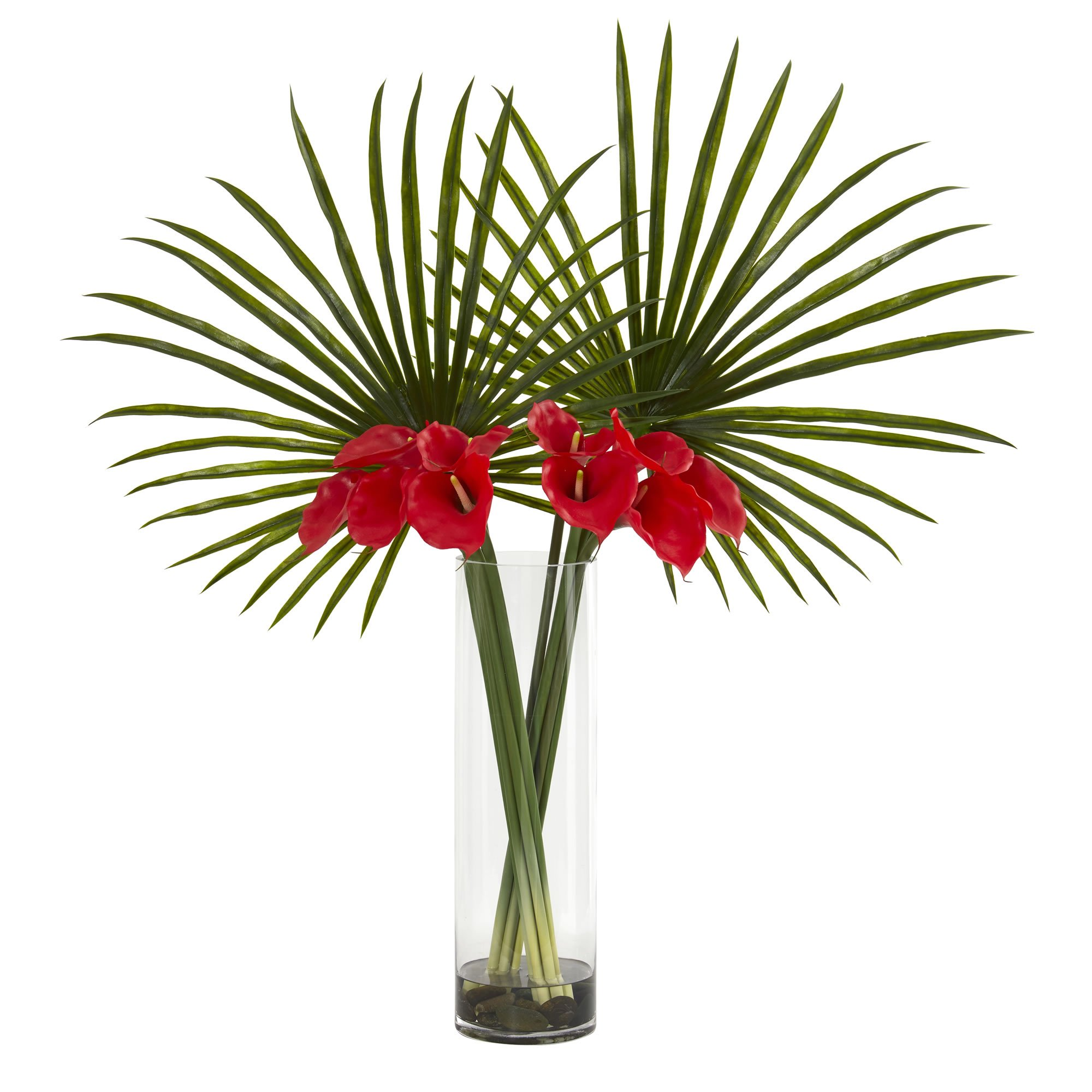 Nearly Natural 1543-RD Fan Palm and Calla Lily Arrangement Artificial Plant Red by Nearly Natural