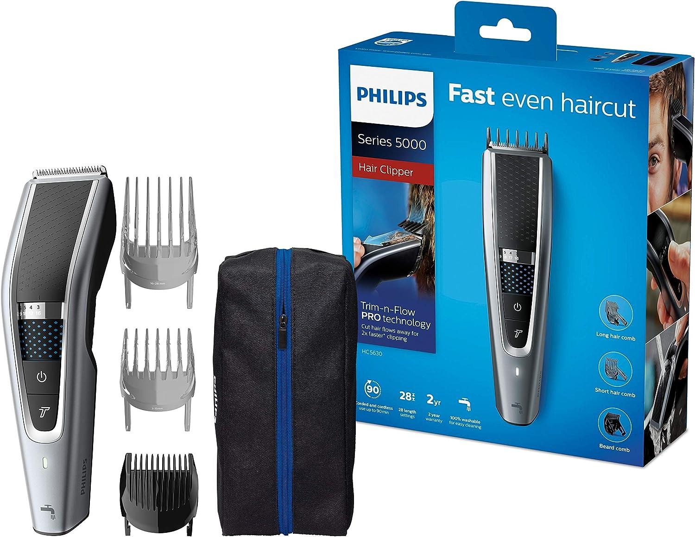 Philips Serie 5000 HC5630/15 - Cortapelos, 28 ajustes de longitud para estilo deseado, 90 min de uso sin cable, incluye 3 peines-guía y funda