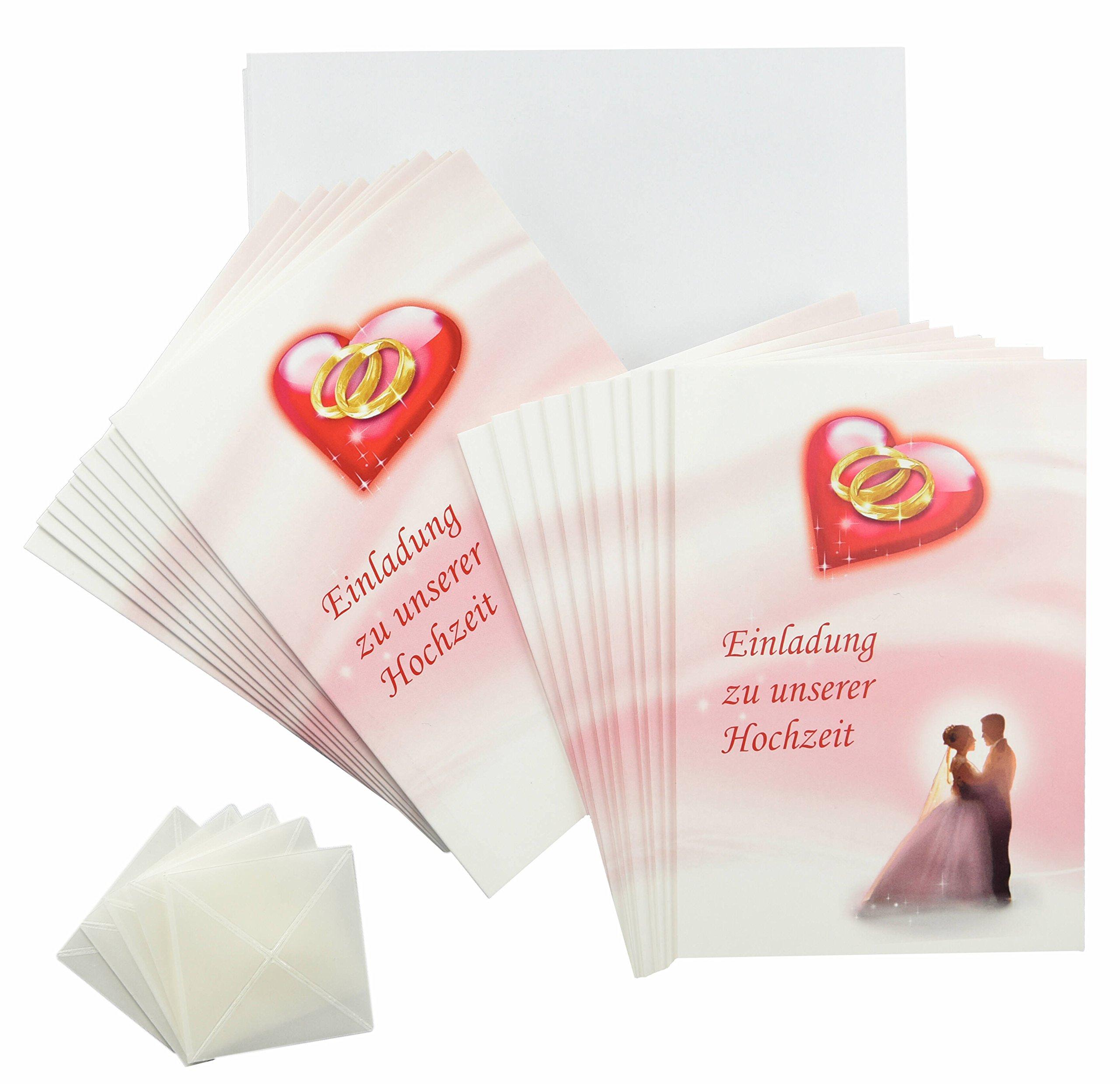 Hochzeit Einladungskarten Rosa   Rot   Weiß Im Set. Einladungen Zum Hochzeit  Feiern Mit 20