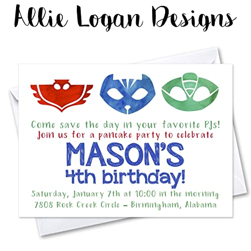 PJ Masks Inspired Watercolor Invitations