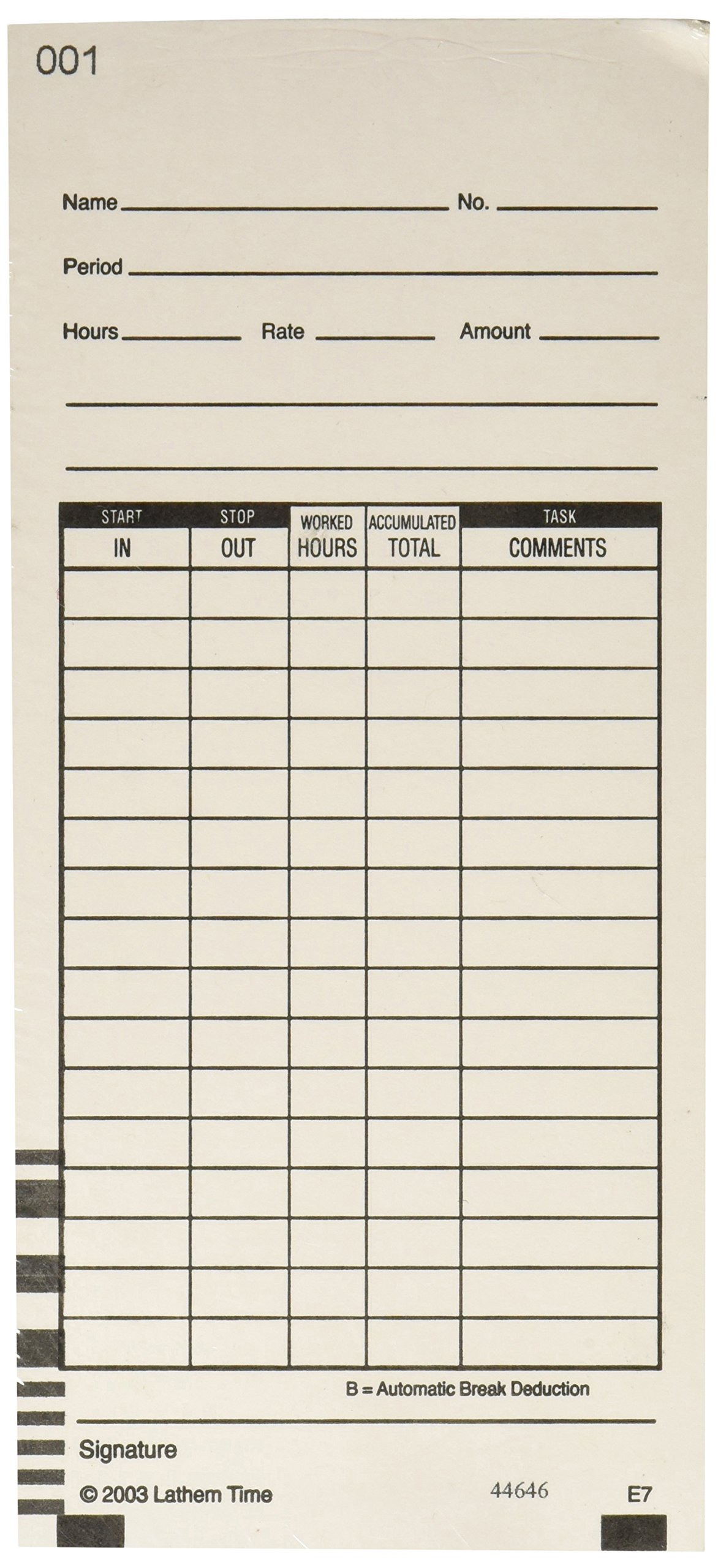 Lathem Time Cards, 2 Sided, Numbered 1-100, 100 per Pack, E7-100 (3.375'' x 7.25''), White (LTHE7100) by Lathem