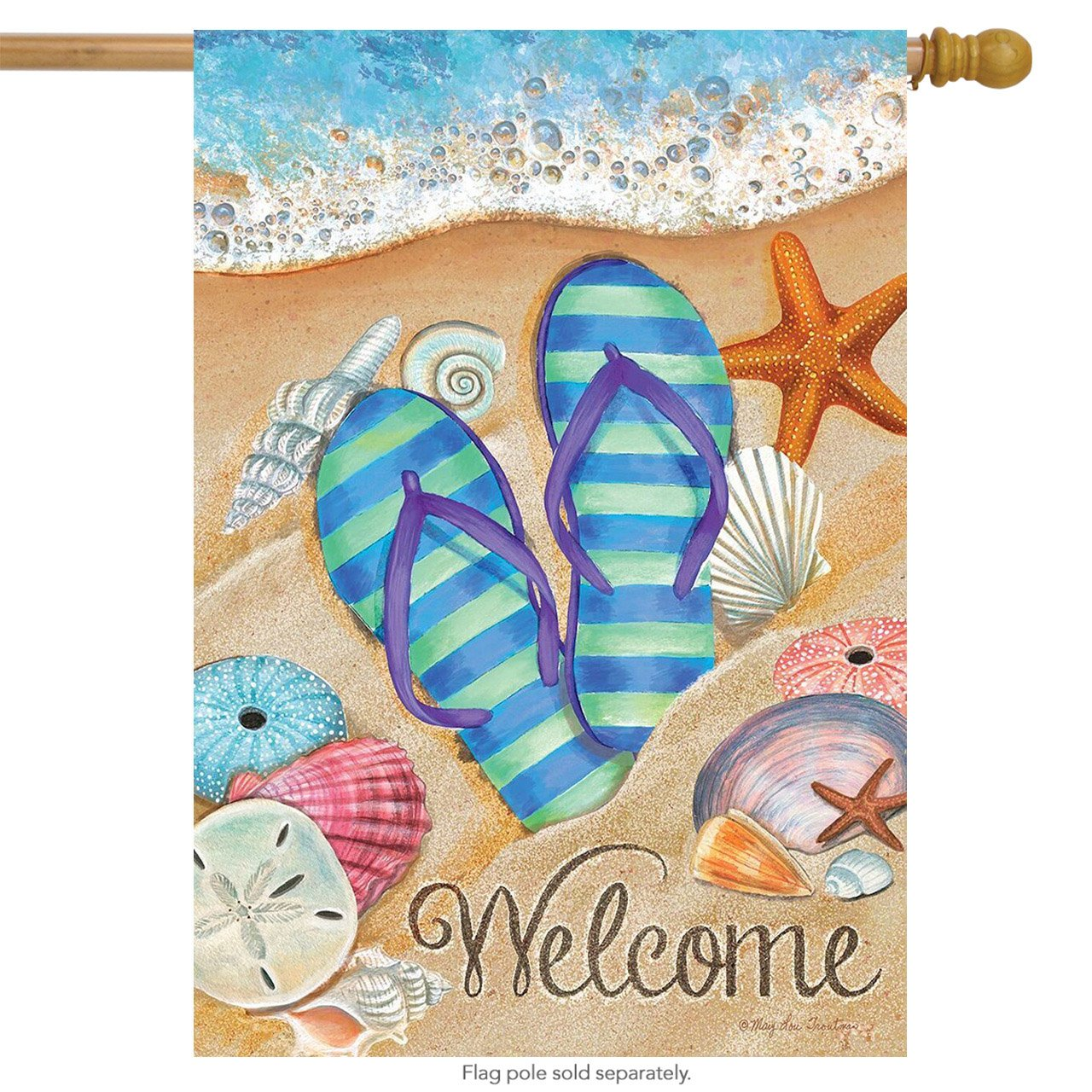 """Briarwood Lane Day in The Sun Summer House Flag Flip Flops Welcome Shoreline 28"""" x 40"""""""