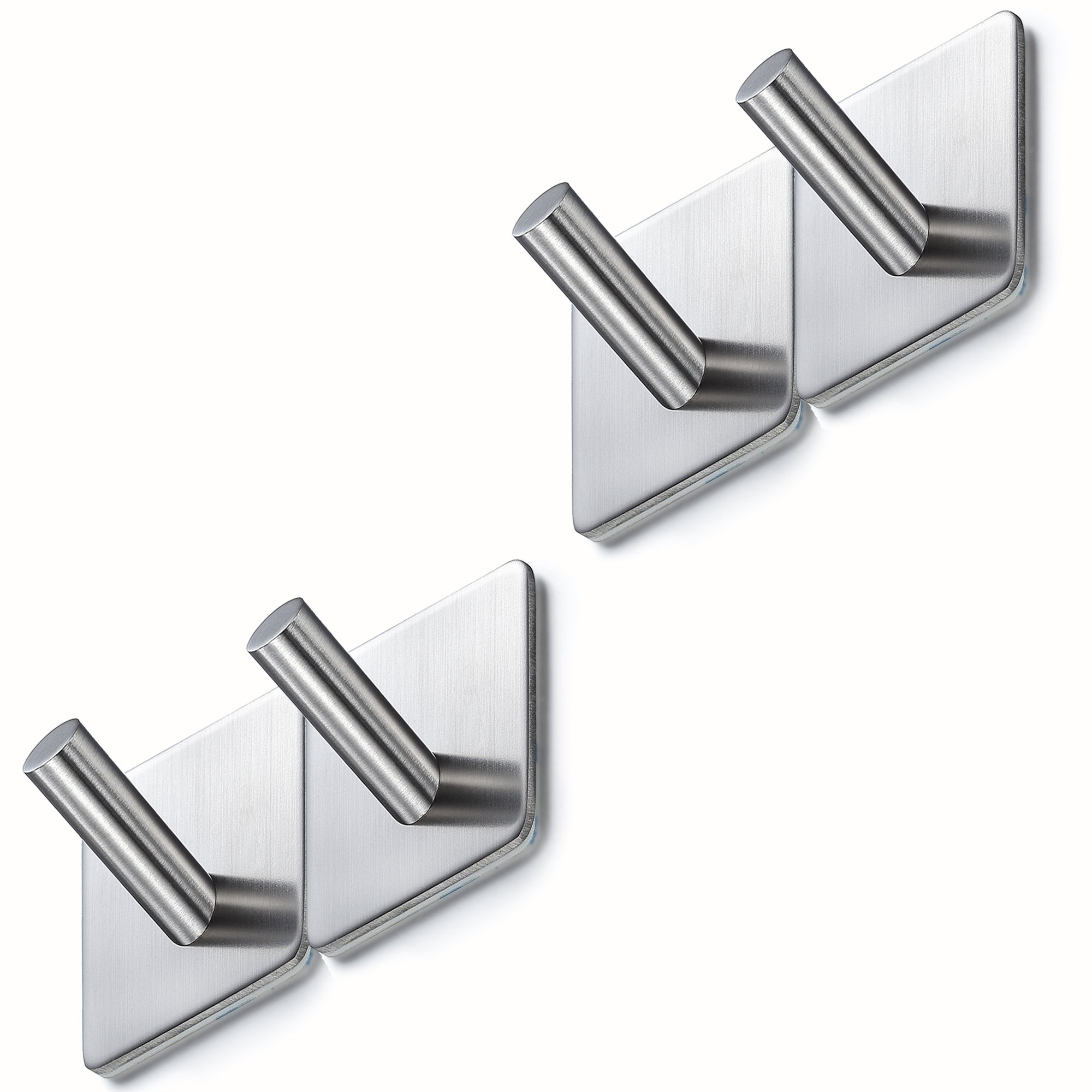BasicForm Adhesive Hooks Stainless Steel Ultra Strong 3M Damage Free(4 pack)