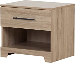 South Shore Primo 1-Drawer Nightstand, Rustic Oak