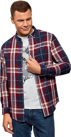 oodji Ultra Hombre Camisa a Cuadros de Algodón