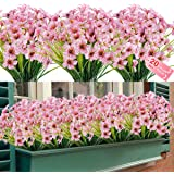 20 Bundles Artificial Outdoor Flowers UV Resistant Fake Flowers No Fade Faux Plastic Greenery Shrubs Garden Porch Window Box