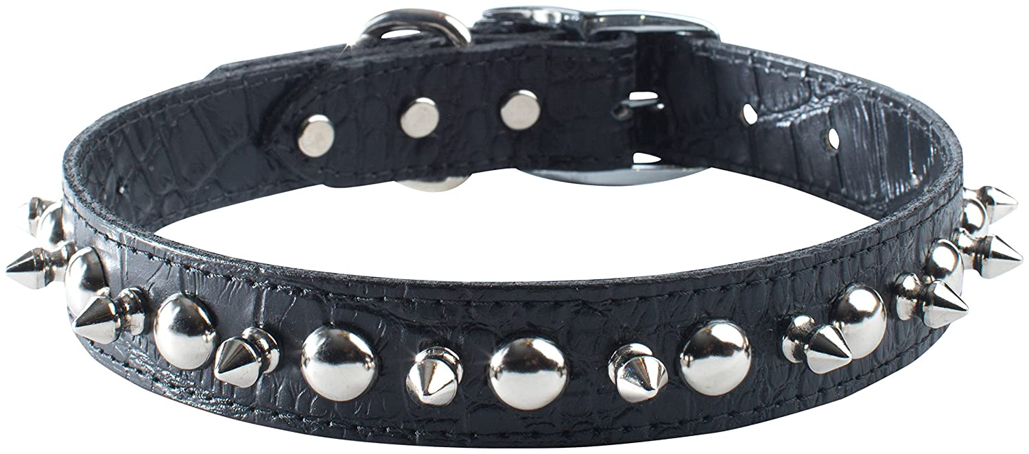 OmniPet Faux Crocodile Signature Leather Pet Collar with Spike and Stud Ornaments, Black, 1 by 26