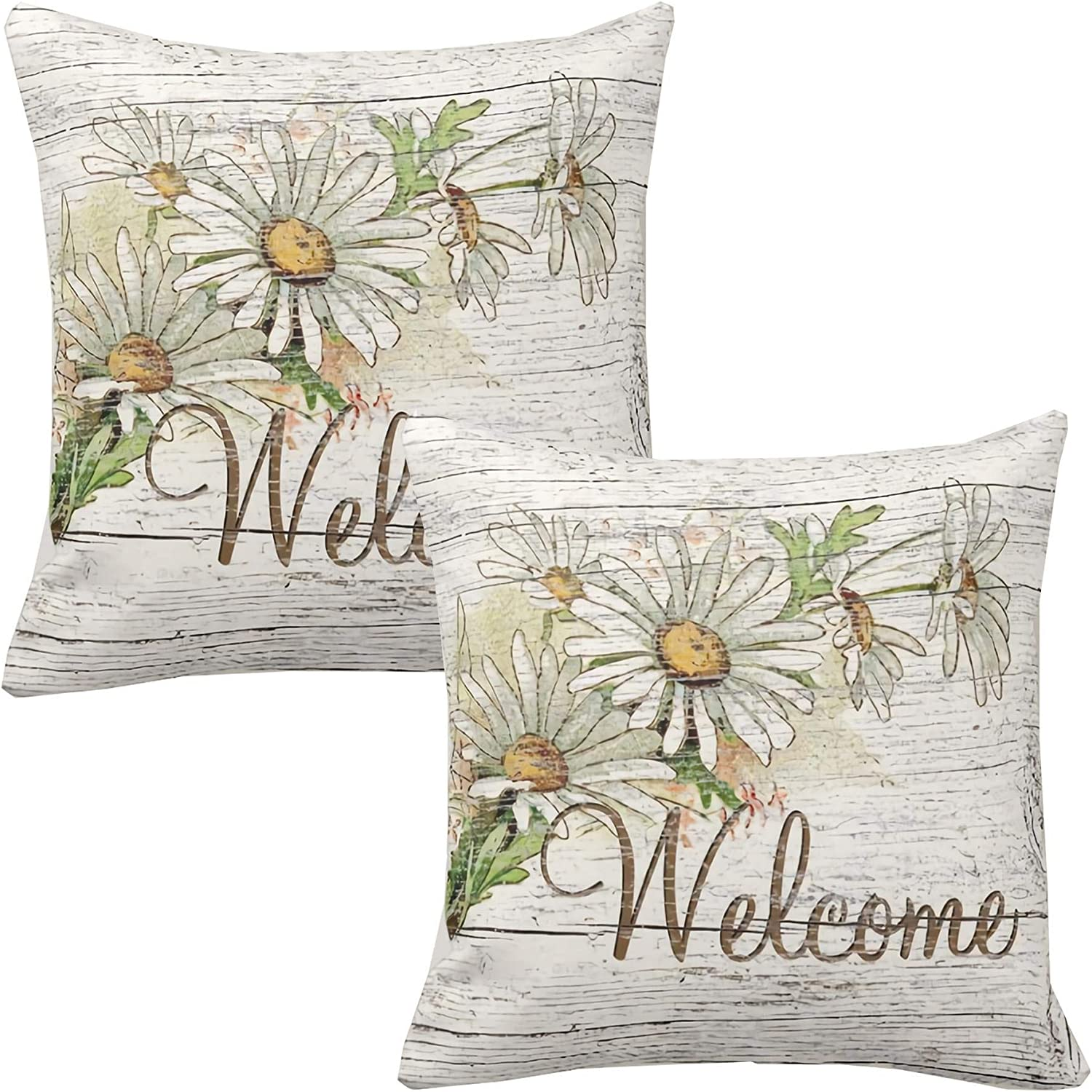 Welcome Spring Floral Throw Pillow Covers 20x20 Inch Set of 2,ZUEXT Outdoor Square Polyester Rustic Vintage Daisy Flowers Pillowcases for Sofa Couch Wedding Nursery Baby Shower Decor Housewarming Gift