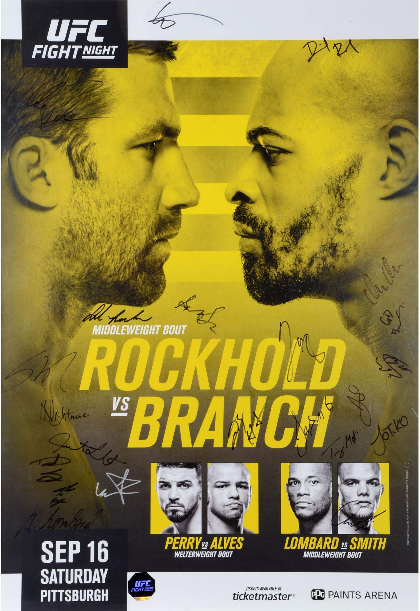 """UFC Fight Night 116 Rockhold vs. Branch Autographed 27"""" x 39"""" 20 Signature Fight Poster Fanatics Authentic Certified"""